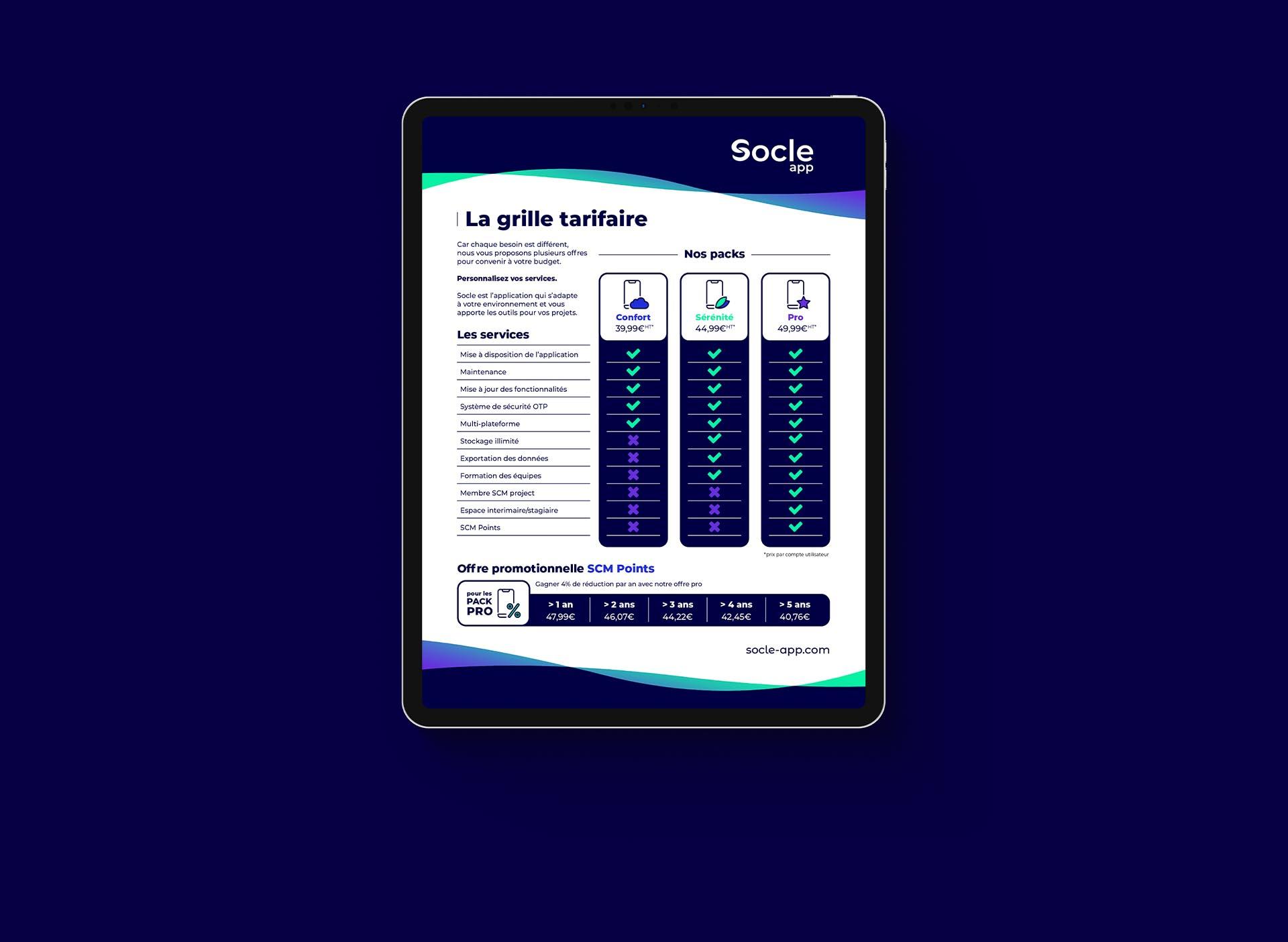Création de la communication des tarifs de Socle App créer par Axel Mary